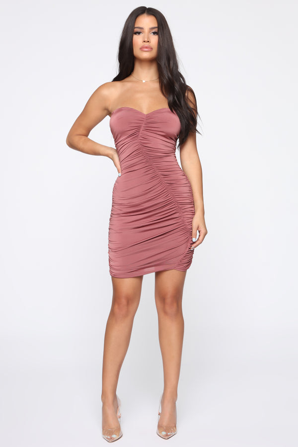 454463b9482 Ruched To My Side Tube Mini Dress - Red Brown