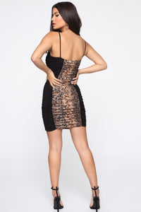 First Instinct Snake Ruched Dress - Black/combo