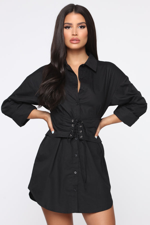 a1f1c895f1df4 Well Suited Shirt Dress - Black