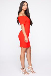 Katherine Off Shoulder Mini Dress - Neon Coral Angle 3