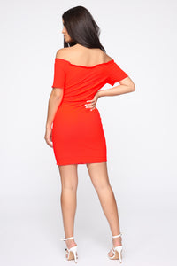 Katherine Off Shoulder Mini Dress - Neon Coral Angle 4