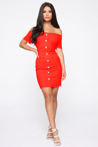 Katherine Off Shoulder Mini Dress - Neon Coral Angle 2