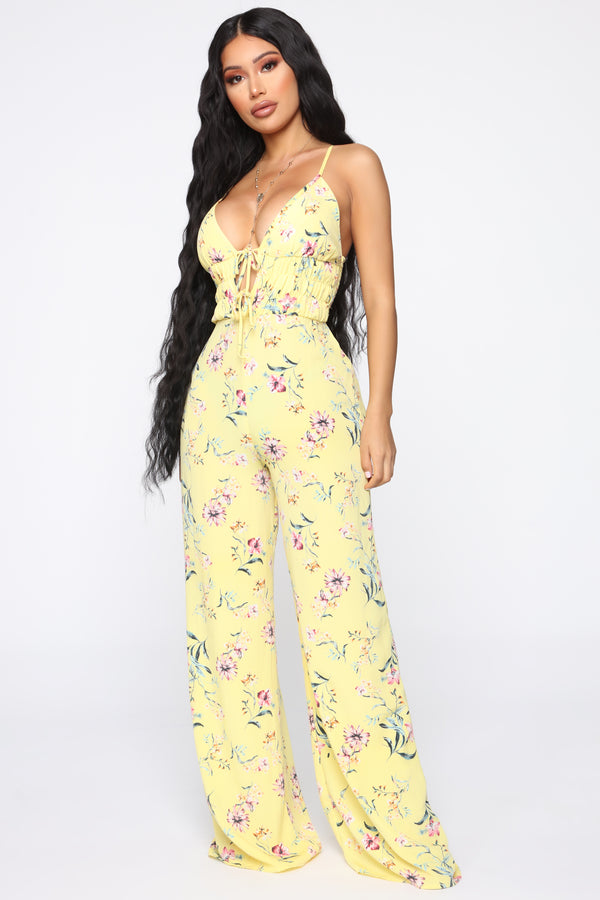 7d8430e55ee Maggie Floral Jumpsuit - Yellow