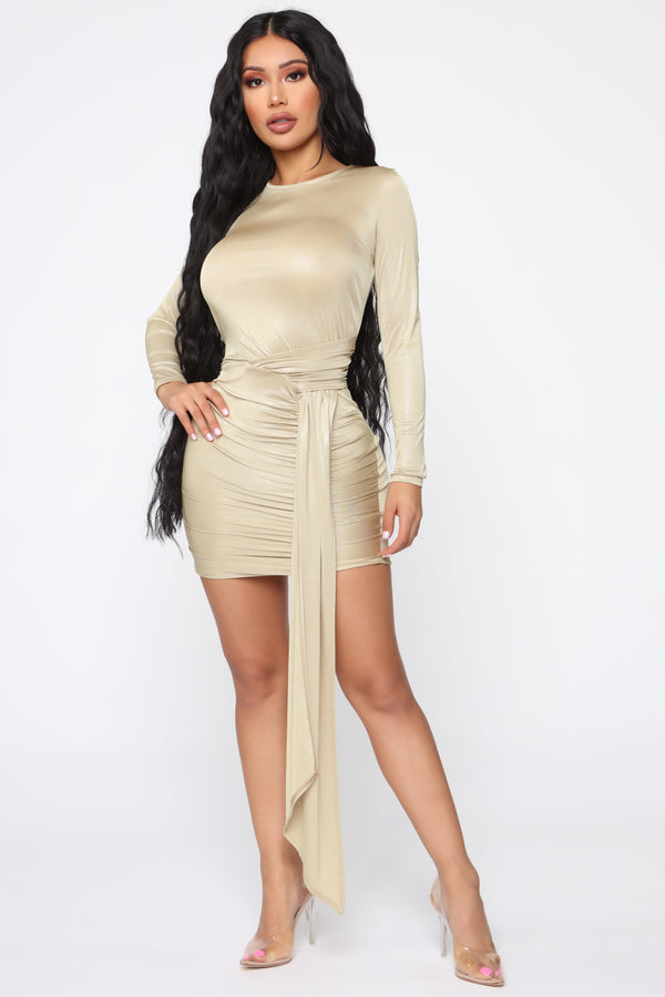 6696e2cd04 What A Trophy Ruched Mini Dress - Gold
