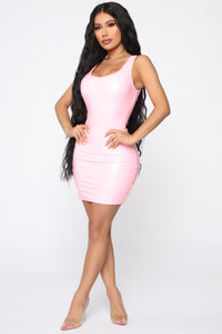 Can't Stop Me Latex Dress - Light Pink