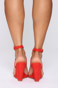 Excuse Me Miss Wedges - Red/Orange