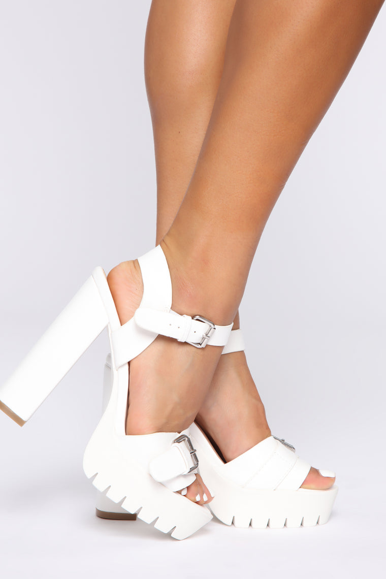 Groove On Heeled Sandals - White, Shoes