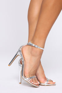 Over The Edge Heeled Sandals - Silver