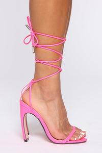 Live Without Me Heeled Sandal - Neon Pink