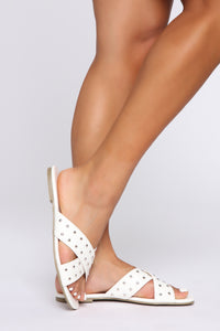 Little Do You Know Flat Sandals - White
