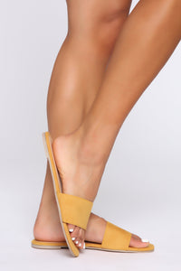 Sweet And Simple Flat Sandals - Mustard