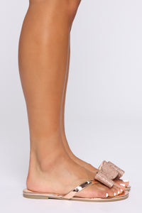 Not Responsible Flat Sandals - Rose Gold