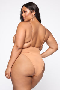 Tie Me Up One Piece Swimsuit - Nude Angle 3