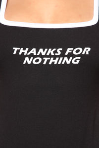 Thanks For Nothing Bodysuit - Black