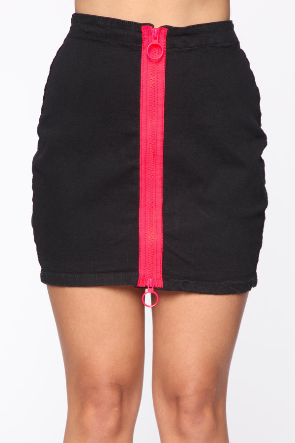 7cf73c9bcf Swervin  Denim Skirt - Black Pink
