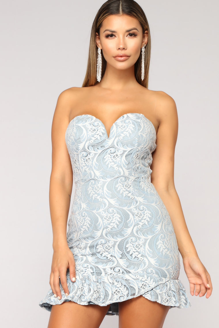 Sweet Treat Lace Dress - Light Blue