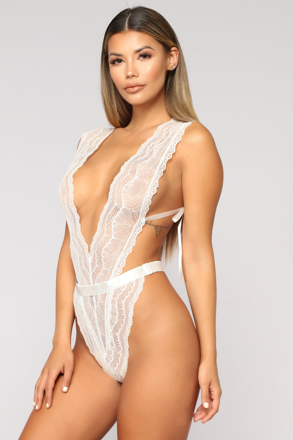 Let Me In Lace Teddy - White