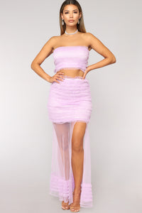 Get Ruffled Up Tube Top - Lavender