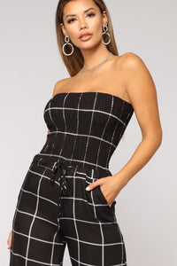 Keep It Together Plaid Jumpsuit - Black