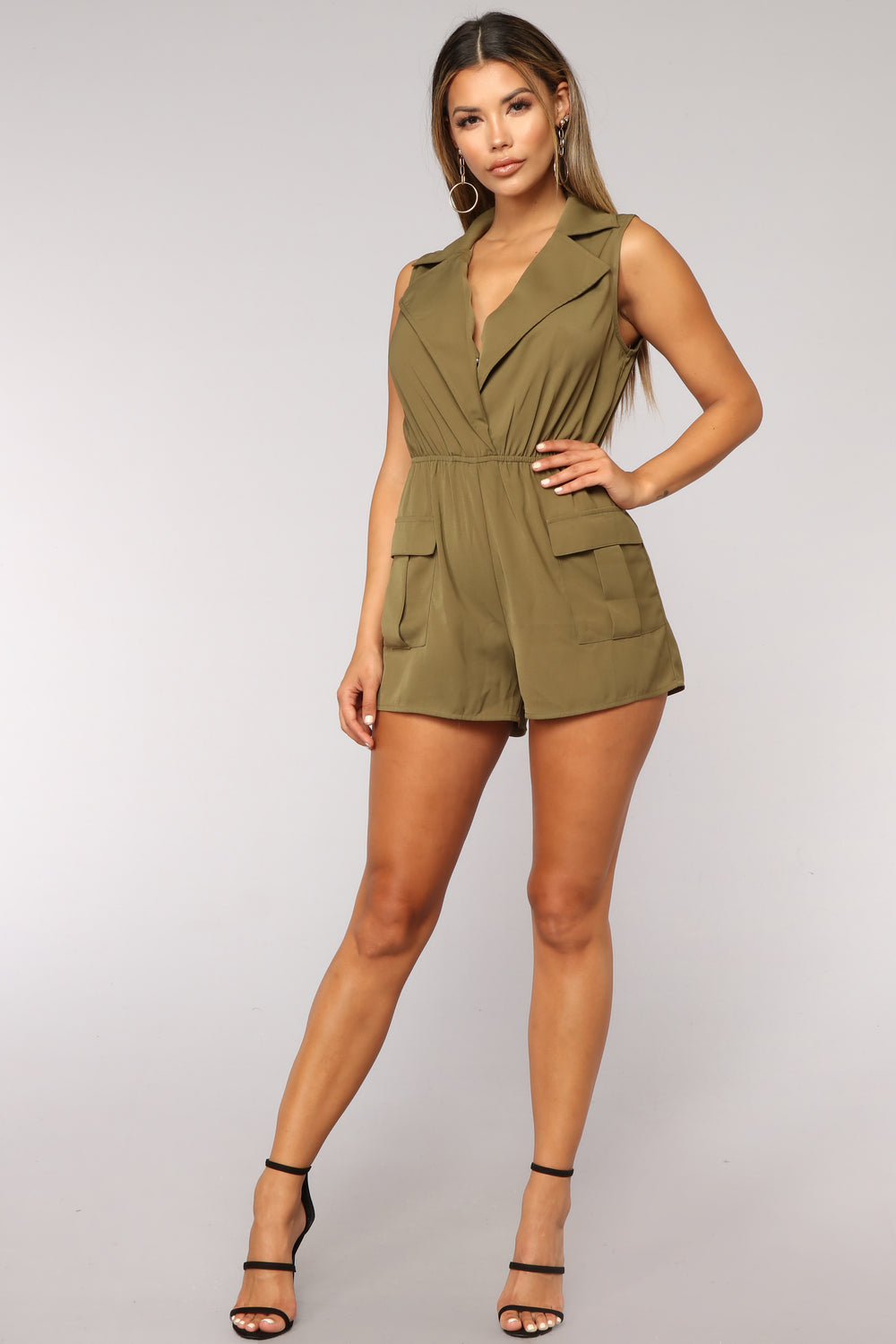 Grounded For Life Cargo Romper - Olive