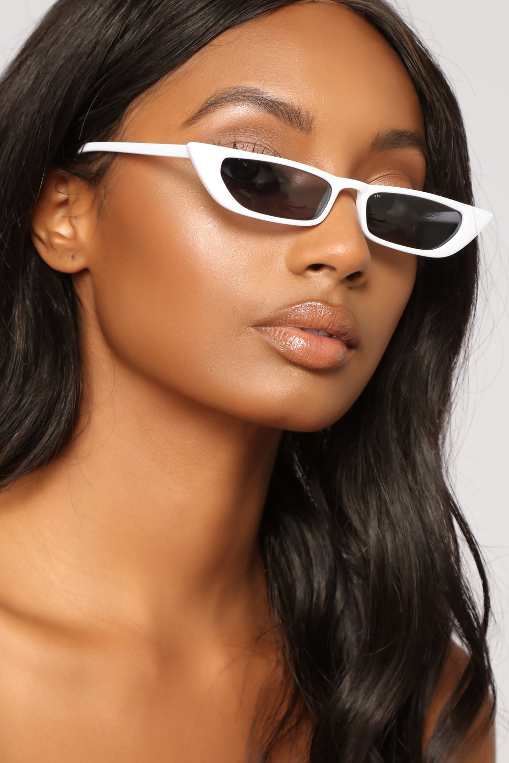 Over The Edge Cat Eye Sunglasses - White