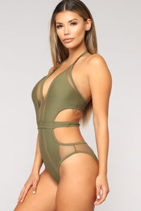 Stay By The Ocean Monokini - Olive