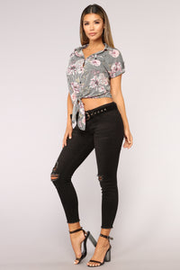 Florals And Stripes Top - Black