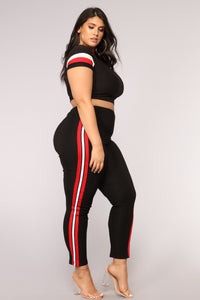 Three Stripe You're Out Pants - Black/Red/White Angle 9
