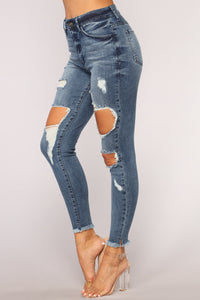 Can't Trust Nobody Ankle Jeans - Dark Denim