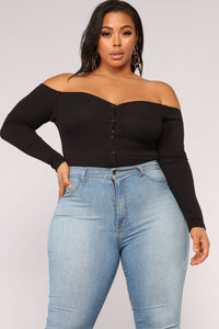 Fool In Love Off Shoulder Bodysuit - Black Angle 14