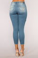 Look Back At Me Booty Lifting Jeans - Vintage Blue Wash