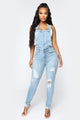 Long Lost Lover Overalls - Light Blue Wash