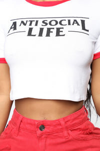 Anti Social Life Ringer Top - White