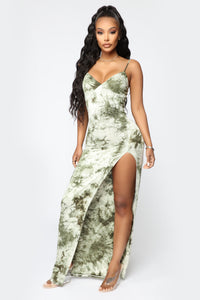 Dying For Your Love Tie Dye Maxi Dress - Olive