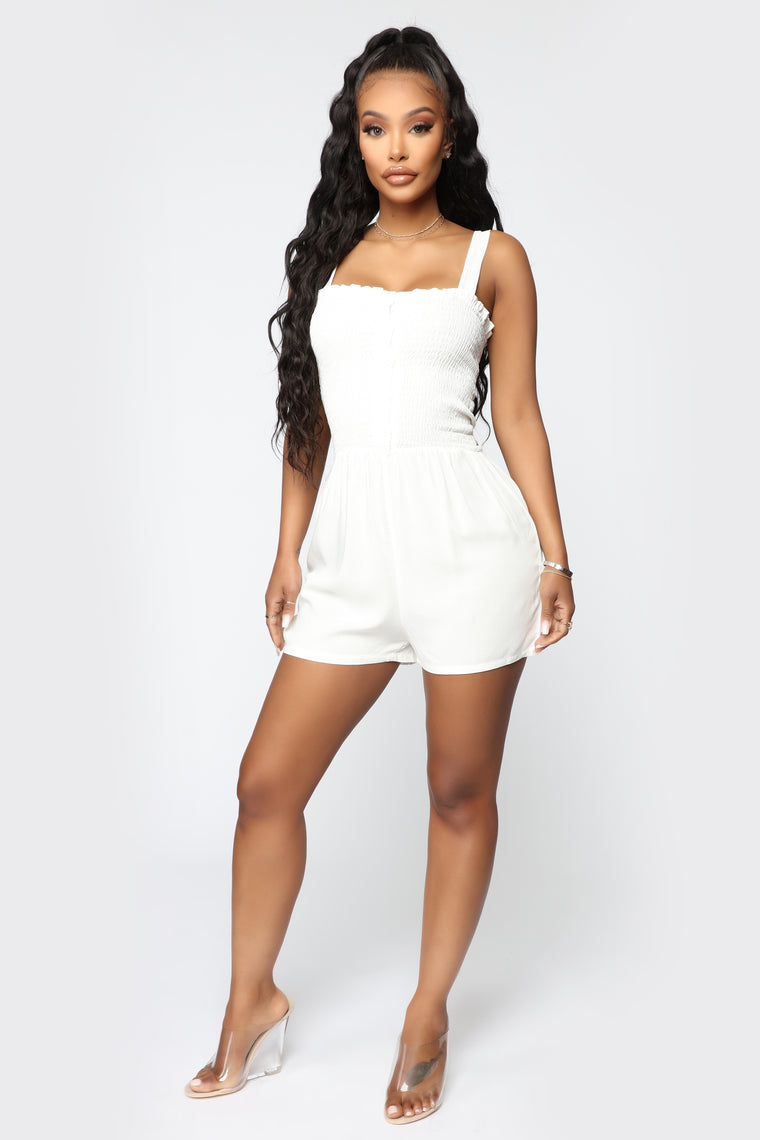 Shelley Smocked Romper - White