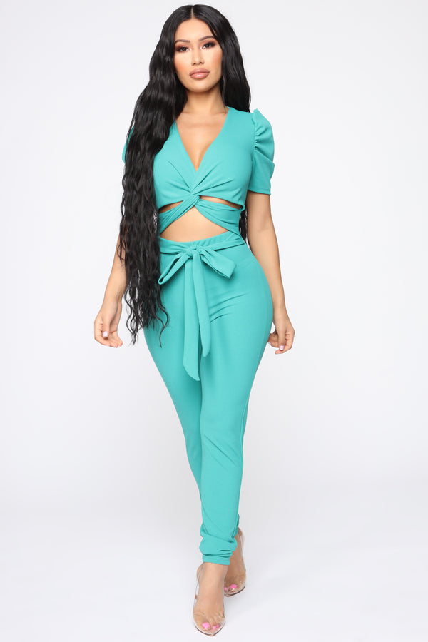 9c1a96276f0 Isia Twist Front Jumpsuit - Green