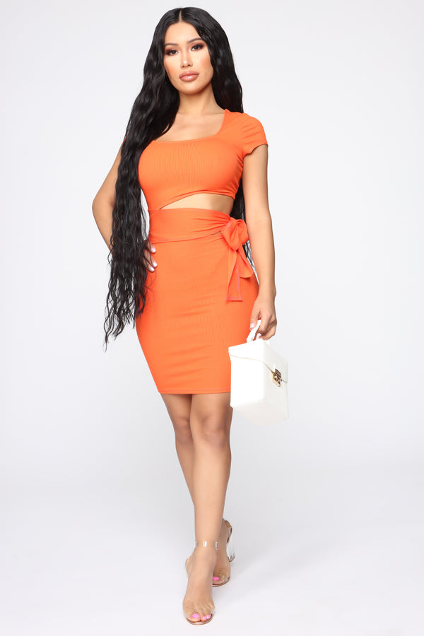c7b802403422 Easy As Tie Cut Out Mini Dress - Orange