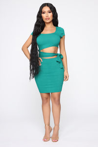 Easy As Tie Cut Out Mini Dress - Kelly Green Angle 3
