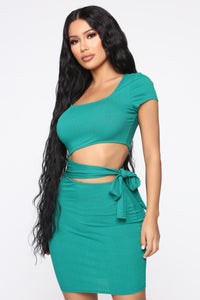 Easy As Tie Cut Out Mini Dress - Kelly Green Angle 1