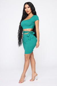 Easy As Tie Cut Out Mini Dress - Kelly Green Angle 2