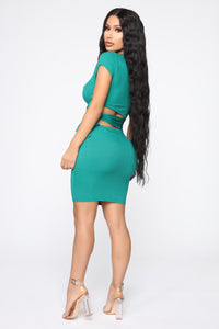Easy As Tie Cut Out Mini Dress - Kelly Green Angle 4