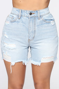 Fray The Day Denim Shorts - Light Blue Wash