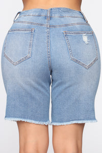 Put It On Me Distressed Bermuda Shorts - Medium Blue Wash