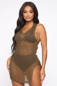 Down The Seashore Crochet Cover Up - Olive