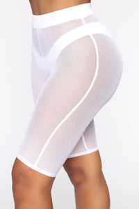 See Me Now Ruched Biker Shorts - White