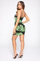 No Need To Mesh Around Mini Dress - Black/Neon Green