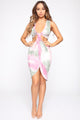 Cut Out Of The Mix Tie Dye Mini Dress - Pink/Olive