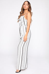 Yessenia Striped Jumpsuit - White/Black