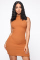 You Don't Say Ribbed Dress - Terracotta