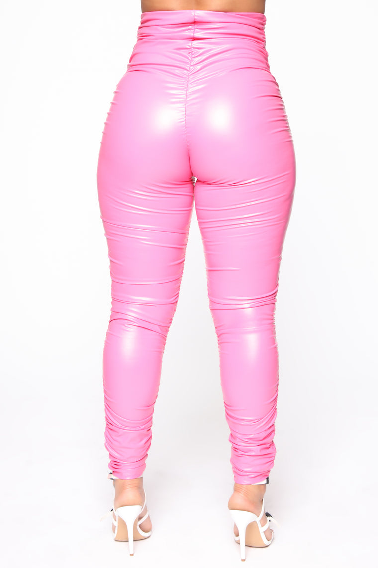 Ride Or Die Chick Ruched Leggings - Pink